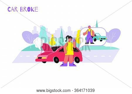 Woman Car Broke Flat Composition With View Of Broken Automobile And Female Character Calling The Rep