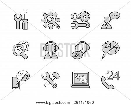 Electronics Repair, Icons, Set, Outline, Gray.repair And Maintenance Of Computers And Electronics. R