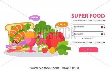 Healthy And Super Food Flat Background With Form For Entering Username And Password With Doodle Imag
