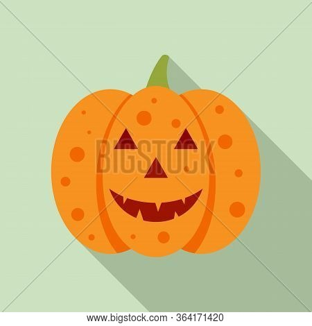 Evil Pumpkin Icon. Flat Illustration Of Evil Pumpkin Vector Icon For Web Design