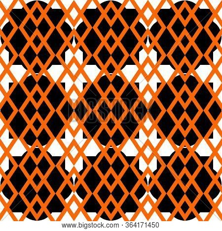 Tile Vector Pattern With Orange, Black And White Print Background Wallpaper For Seamless Decoration