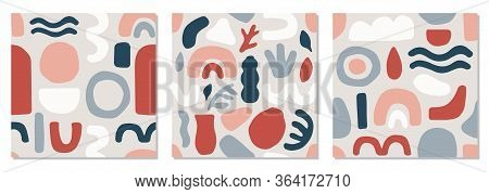Cute Set Of Trendy Mid Century Modern Seamless Pattern With Abstract Organic Shapes Nature Elements,
