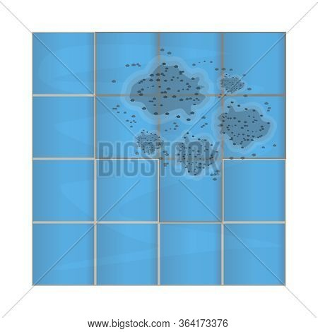 Dark Mold On Ceramic Tile In Bathroom. Stains On The Wall. Mildew In The Shower. Concept Of Condensa