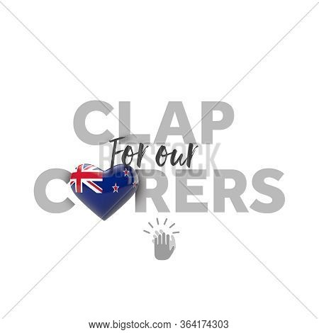 Clap For Carers Message With New Zealand Heart Flag. 3d Render