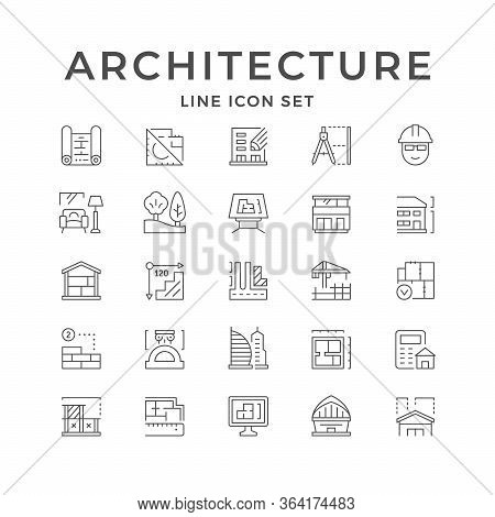 Set Line Icons Of Architecture Isolated On White. Landscape And Interior Design, Architect Blueprint