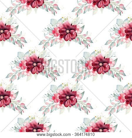 Floral Bouquet Seamless Pattern Watercolor Clipart. Burgundy Flowers And Greenery Illustration.