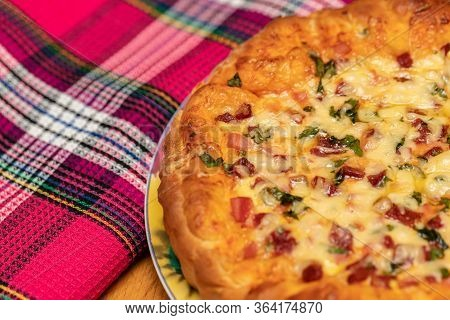 Flan Quiche Lorraine. Homemade Cake. Traditional Open French Pie.