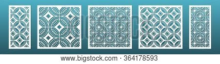 Laser Cut Panels With Modern Geometric Pattern. Templates For Cnc Plasma Cutting. Can Be Used In Int