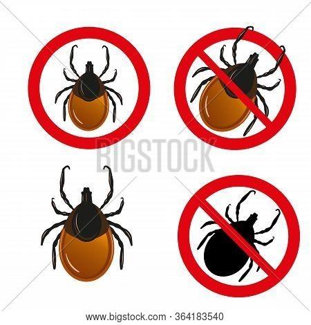 Mite Set. Vector Set Of Insect Parasites Ticks. Encephalitis Tick Warning Signs