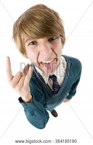 A Cheeky Student Making A Hand Gesture And Poking His Tongue Out.