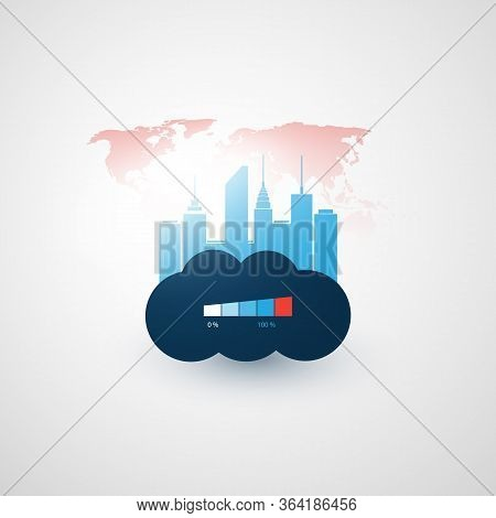 Smart City, Cloud Computing Technology Design Concept With Cityscape And World Map - Overloaded Digi