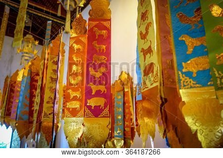Prayer Flags In Wat Chedi Luang Temple, Chiang Mai, Thailand