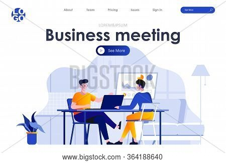 Business Meeting Flat Landing Page Design. Employees Discussing Project At Workspace In Office Scene