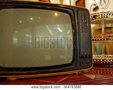 Vintage Bw Black And White Analogue Tv Set With Space For Graphics On The Screen