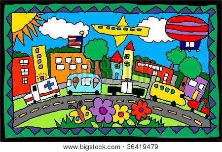 children's artwork of a city scene with trucks, buildings, flowers
