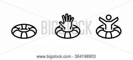Set Lifebuoy With Raised Hand Icons. Editable Vector Stroke.