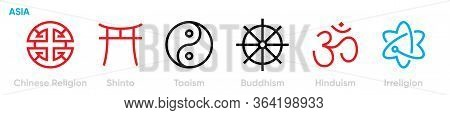 Set Of Distribution Symbols Of Different World Religions Icons. Editable Line Vector.