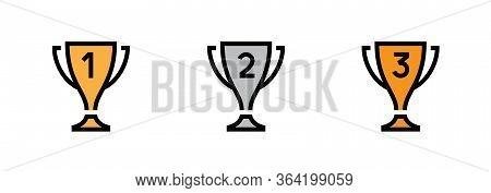 Set Trophy Cup Icons. Editable Vector Stroke.