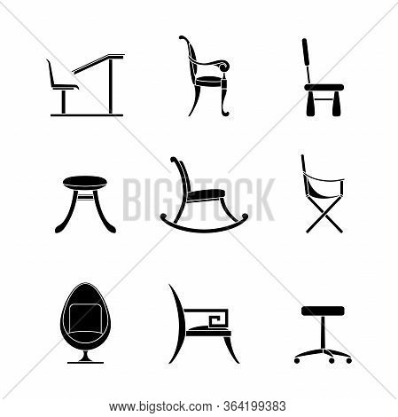 Chairs Glyph Icons Set . Different Options For Chairs And Armchairs. Black Outline Of Interior Items