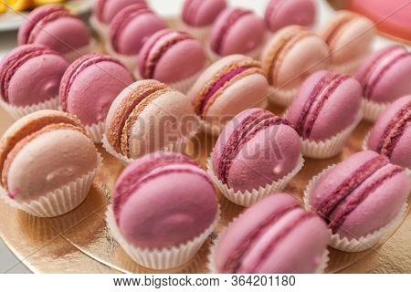 Set Of Different French Cookies Macaroons Macaroons In A Paper Box.