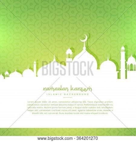 Mosque Silhoutte In Green Pattern Background Vector Design Illustration