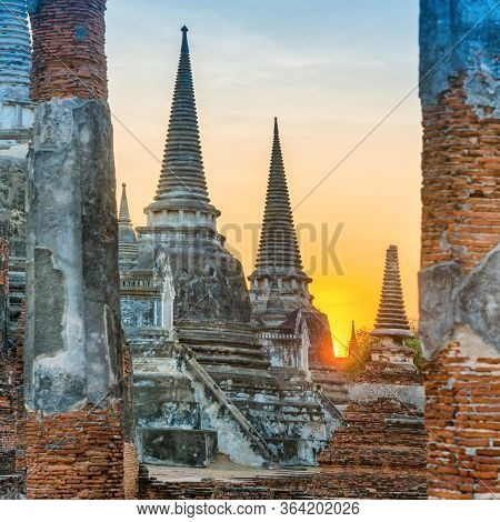 Buddhist Temple Wat Phra Si Sanphet In Ayutthaya At Sunset Time