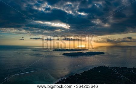 Gili Islands At Sunset Aerial View As Seen From Gili Air Indonesia