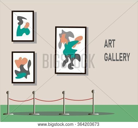 The Exhibition Is Online. Artworks Or Exhibits Flat Illustration. An Exhibition At The Museum.vector