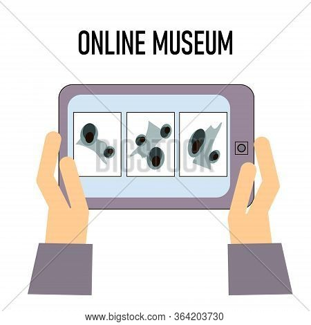 Hand With Phone With Exibition App On Screen. An Exhibition At The Museum. The Exhibition Is Online.