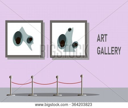 An Exhibition At The Museum. Artworks Or Exhibits Flat Horizontal. Vector Illustration. Contemporary