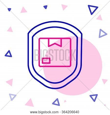 Line Delivery Pack Security With Shield Icon Isolated On White Background. Delivery Insurance. Insur