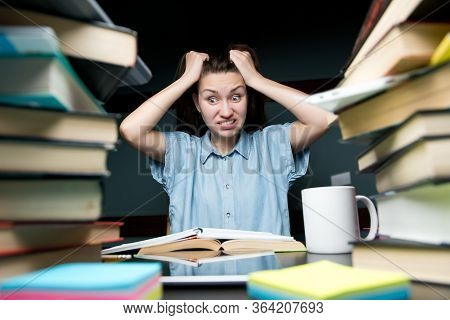 Girl Student Tired Of Studying And Preparing For Exams. She Freaks Out, Gets Angry And Rubs Herself