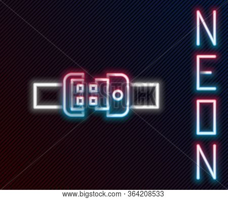 Glowing Neon Line Safety Belt Icon Isolated On Black Background. Seat Belt. Colorful Outline Concept