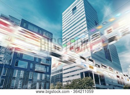 5g Network Digital Hologram And Internet Of Things On City Background. Wireless Systems, Iot (intern