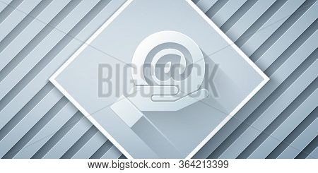 Paper Cut Mail And E-mail In Hand Icon Isolated On Grey Background. Envelope Symbol E-mail. Email Me