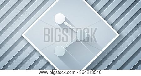 Paper Cut Share Icon Isolated On Grey Background. Share, Sharing, Communication Pictogram, Social Me