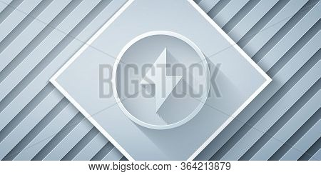 Paper Cut Lightning Bolt Icon Isolated On Grey Background. Flash Sign. Charge Flash Icon. Thunder Bo