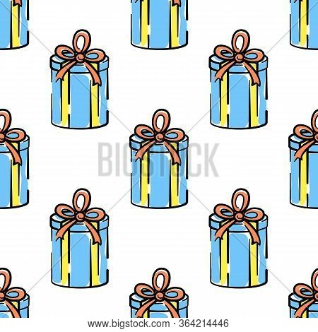 Gift Box Vector Seamless Pattern On White Background. Color Holiday Background Hand-drawn. Design Fo