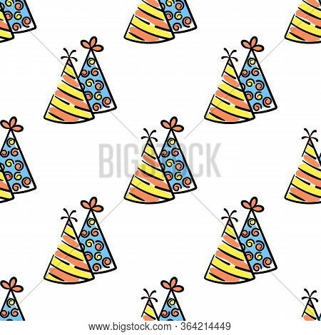 Two Party Hat Vector Seamless Pattern On White Background. Color Holiday Background Hand-drawn. Desi