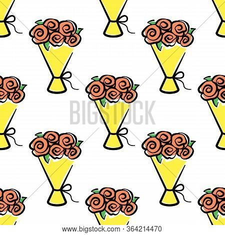 Bouquet Of Flowers Vector Seamless Pattern On White Background. Color Holiday Background Hand-drawn.