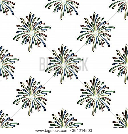 Firework Vector Seamless Pattern On White Background. Color Holiday Background Hand-drawn. Design Fo