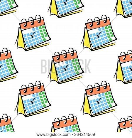 Desktop Calendar Vector Seamless Pattern On White Background. Color Background Hand-drawn. Design Fo