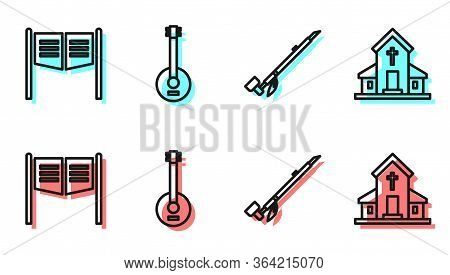 Set Line Native American Indian Smoking Pipe, Saloon Door, Banjo And Church Building Icon. Vector