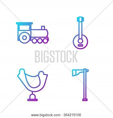 Set Line Tomahawk Axe, Wild West Saddle, Retro Train And Banjo. Gradient Color Icons. Vector