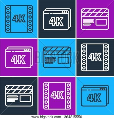 Set Line 4k Movie, Tape, Frame, Movie Clapper And Online Play Video With 4k Icon. Vector