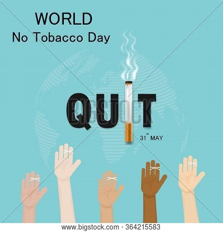 Human Hands And Cigarette.quit Tobacco Vector Logo Design Template.may 31st World No Tobacco Day.no