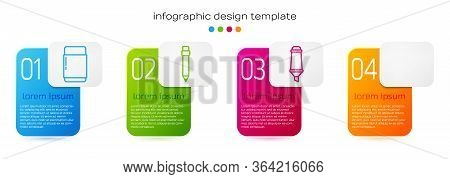 Set Line Eraser Or Rubber, Pencil With Eraser, Marker Pen And Red Eye Effect. Business Infographic T