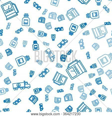 Set Line Tanker Truck, Petrol Or Gas Station And Oil Petrol Test Tube On Seamless Pattern. Vector