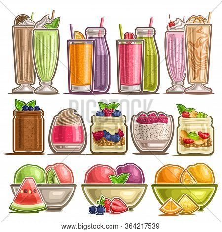 Vector Set Of Different Desserts, Lot Collection Of 12 Cut Out Illustrations Of Fresh Assorted Milk