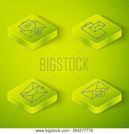 Set Isometric Mobile And Envelope, Envelope, Envelope And Check Mark And Delete Envelope Icon. Vecto